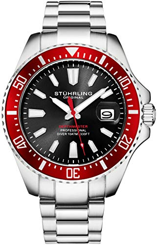 Stuhrling Original Dive Watches for Men - Black Dial Red Bezel Mens Watch with Screw Down Crown Waterproof to 330 Ft. - Analog Dial, Quartz Movement - Depthmaster Mens Watches Collection Black Dial Red Meter