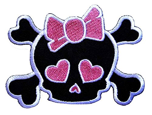 Cute Pretty Skull Crossbones Girl with Pink Bow Punk Rock Embroidered Iron on Patch Size (width x length) : 2 3/8