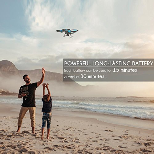 51CTkR54W5L - SereneLife WiFi FPV Drone with HD Camera and live Video. Headless Mode Quadcopter, Altitude Hold, 1-Key Takeoff/Landing, Bonus Battery, Low Voltage Alarm, Custom Route Mode, 15 Minutes Flight Time