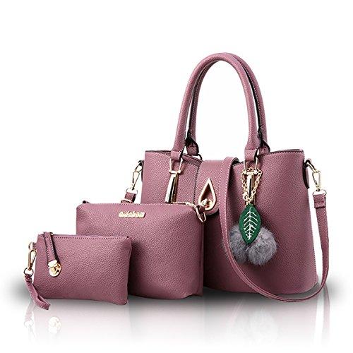 NICOLE&DORIS Moda Bolso de 3 PCS Hombro Bolso de Las Mujeres Crossbody Totes Mensajero Suave PU Vino Tinto Púrpura