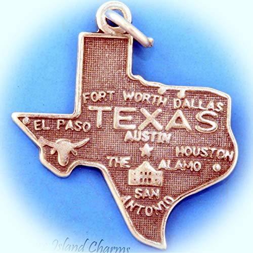 Texas State Map .925 Sterling Silver Charm Houston Dallas Austin San Antonio Vintage Crafting Pendant Jewelry Making Supplies - DIY for Necklace Bracelet Accessories by CharmingSS