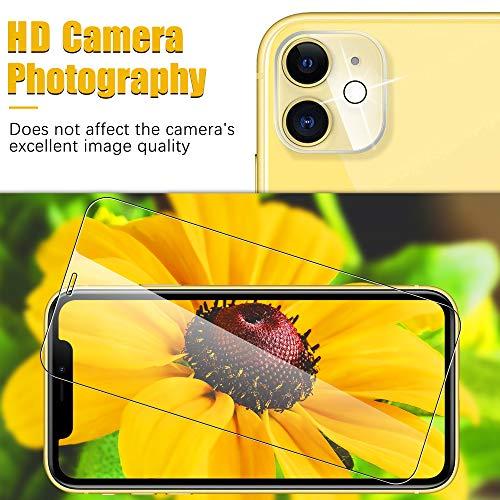 UniqueMe [2 pièces] Verre trempé (6,1 Pouces) et [2 pièces] Caméra Arrière Protecteur pour iPhone 11 [Dureté 9H] [sans Bulles] Anti-Rayures avec Un Service après-Vente Parfait.