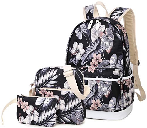 Hey Yoo 3pcs Casual Daypack Cute 3 Pieces Bookbag School Bag Laptop Backpack Sets for Girls Women