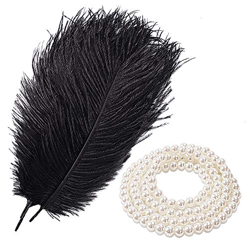 (Coceca 15PCS Black Ostrich Feathers for Crafts 10-12inch and 5PCS White Pearl Bead Necklaces for Wedding Party Home Decorations DIY)
