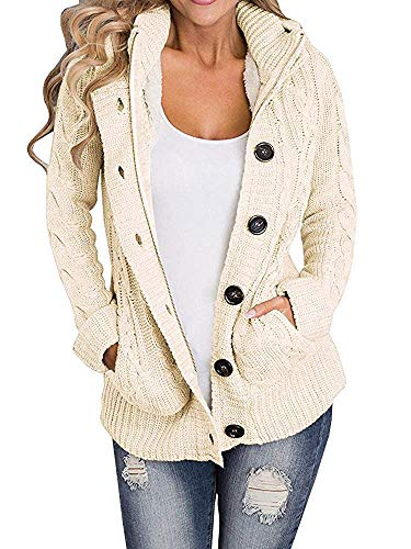 Yacooh Lined Hooded Womens Cardigan Sweaters Warm Jacket Fleece Cable Knit Open Front Hooded Button Down Sweater Coat (Small, Beige)