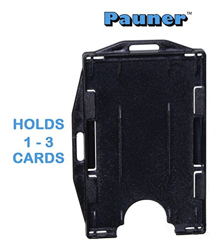 Card Holder - Id Badge Holder - 1-3 Card Holder (1- pack, black)