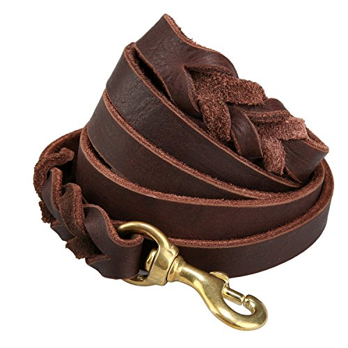 Training Lead Handmade Braided 8 Ft Leather Pet Leash, Burgundy