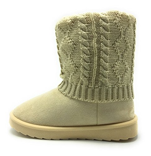 Womens GG-08 Knitted Sweater Midcalf Winter Flat Boot Beige/Gg-08 rjCQR9SstU