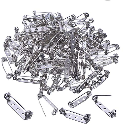 CBTONE 100 Pieces 1 Inch Silver Tone Pin Back Clasp Brooch Pin Backs Bar Pins Findings with 3 Holes for Craft Projects, Badge Insignia, Citation Bars, Making Corsage, Name Tags and Jewelry Making
