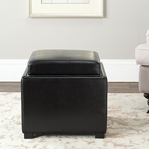 Safavieh Hudson Collection Kaylee Leather Single Tray Square Storage Ottoman, Black by Safavieh
