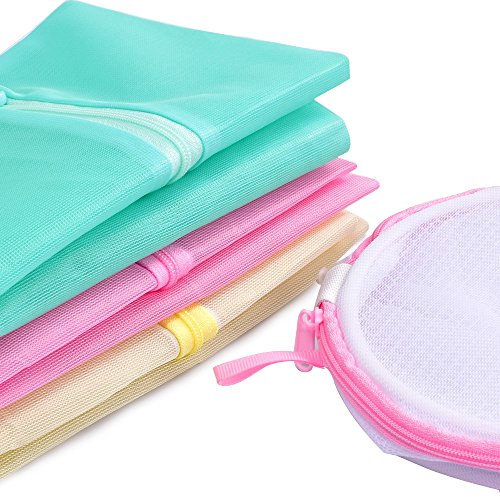 Yazer Colorful Set of 4 New Mesh Laundry Wash Bags for T-Shirt,Lingerie,Bras,Hosiery,Blouse,Stocking,Underwear with Bra Cylindrical Bra Wash Bags
