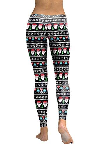 COCOLEGGINGS Ladys Santa Claus Patterned Christmas Tights Pencil Pants Black S