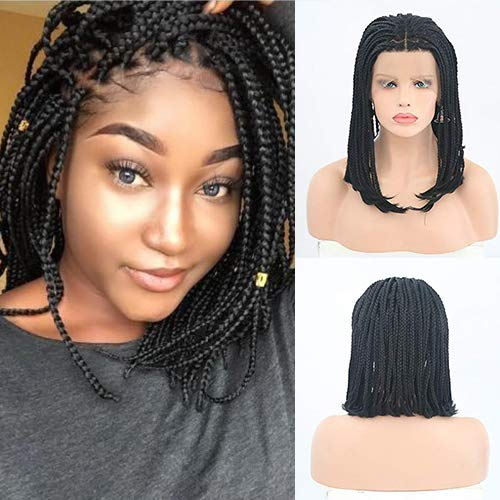 IVY HAIR Black Braided Hairstyles Lace Front Braided Wigs Bob Style for Black Women Glueless Senegalese Twist Braided Lace Bob Wigs with Baby Hair Black Braid for Daily Wear Half Hand Tied 16inches (Best Hairstyles For Black Women Over 50)