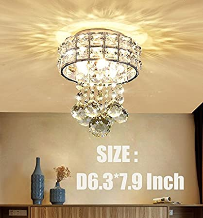 Mini Style 3-Light Chrome Finish Crystal Chandelier Pendent Light for Hallway,Be