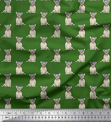 Soimoi Green Cotton Jersey Fabric Cap & French Bull Dog Decor Fabric Printed BTY 58 Inch Wide