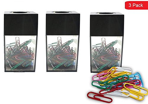 1InTheHome 3 Large Magnetic Paper Clip Dispenser with 300 Clips
