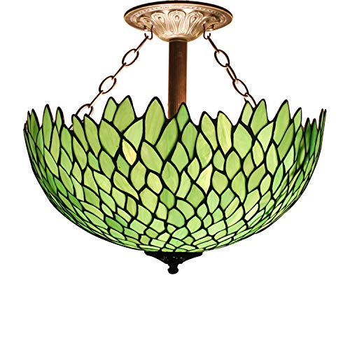 Tiffany Ceiling Fixture Lamp Semi Flush Mount 16 Inch Green Wisteria Stained Glass Shade for Dinner Room Pendant Hanging 2 Light ()