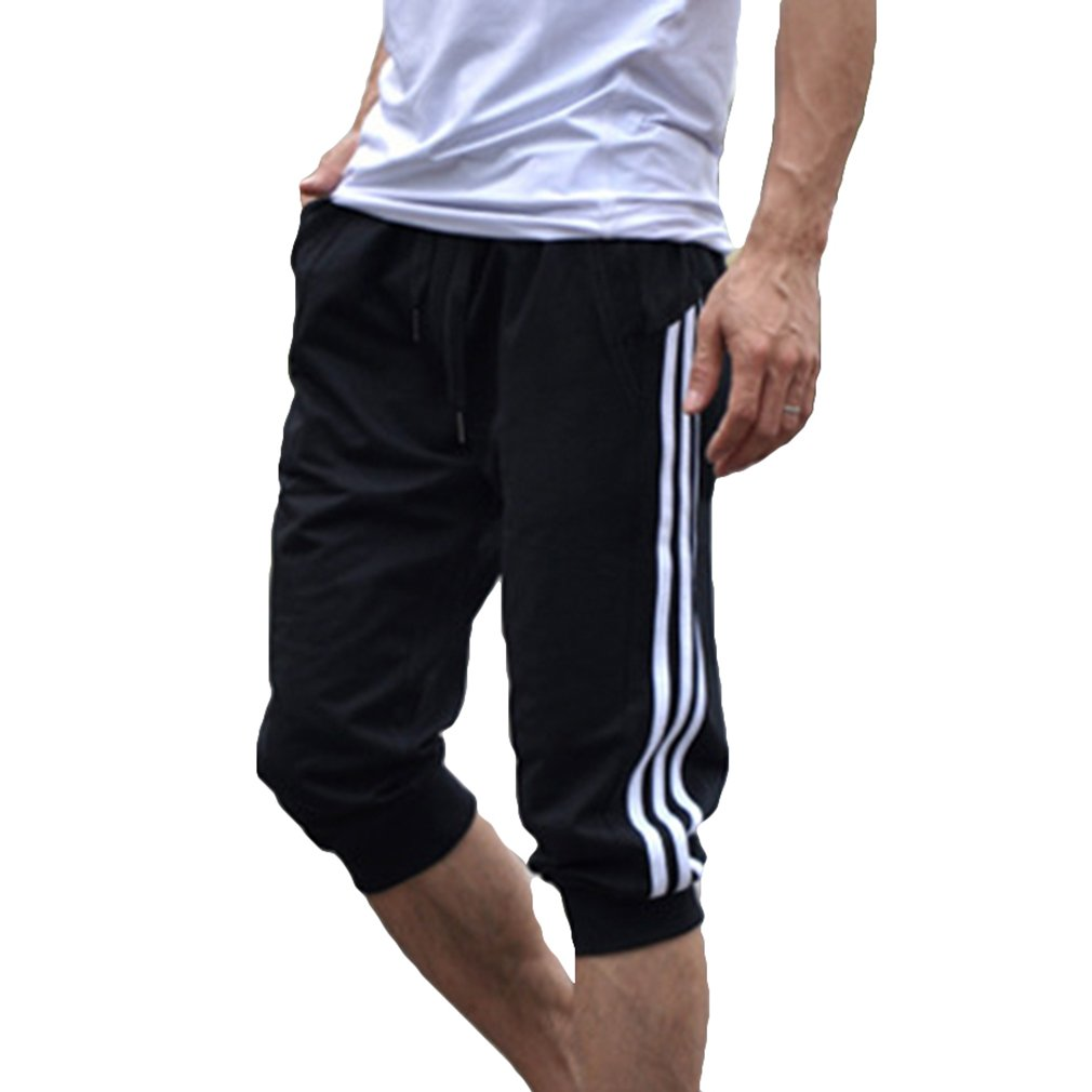 Hibote Pantalone Sportivo da Uomo Pantaloncini 3/4 Pantaloni da Ginnastica in Cotone da Ginnastica Pantaloni da Jogging M-2XL CHM082301