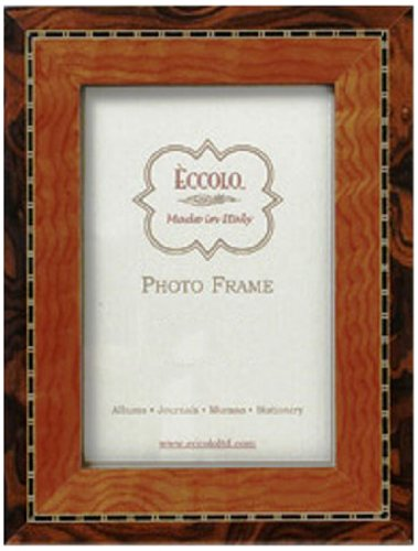 Eccolo Made in Italy Marquetry Wood Frame, Two-Tone Tan and Black, Holds an 8 x 10-Inch Photo - Two Tone Black Wood