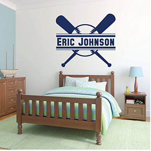 Personalized Baseball Wall Decor - Sports Decoration for Theme Athlete Bedroom Decoration - Vinyl Removable Sticker for Children's Bedrooms, Playroom or Home. ()