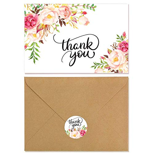 VEEYOL 40 Floral Thank You Cards For Wedding, Baby Shower, Bridal, Business, Anniversary, Graduation - Floral Thank You Notes with Kraft Envelopes ()