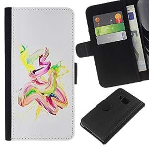 KingStore / Leather Etui en cuir / HTC One M7 / Acuarela Pintura Aceite Rosa Amarillo Finger Paint