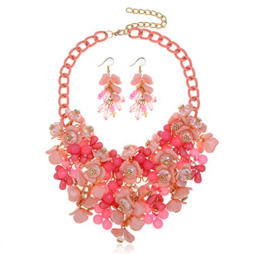 HoBST Party Choker Necklace Fashion Flower Bubble Bib Collar Chain Statement Necklaces for Women (Pink Set)