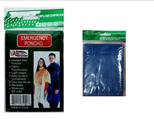 SIS E-Store 4 PACK EMERGENCY GOTTA HAVE IT! HOODED RAIN PONCHO -BLUE