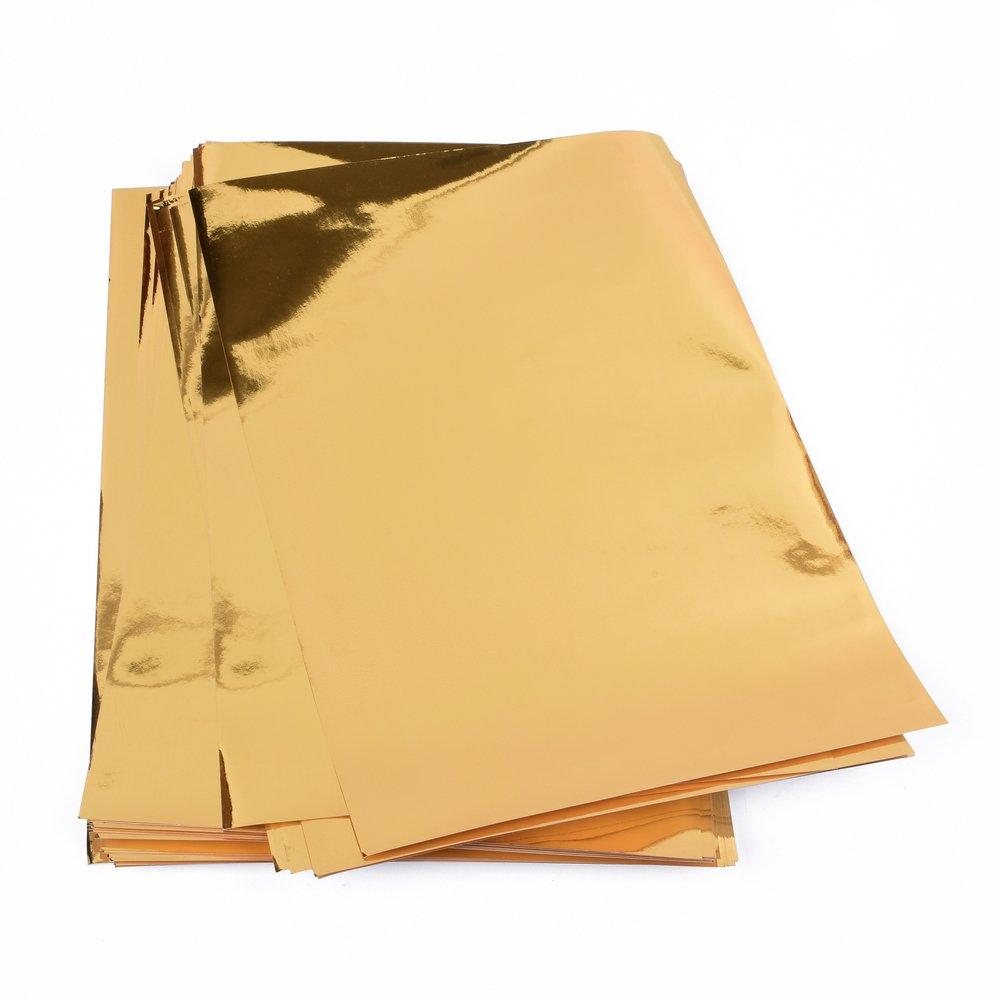 25 Blatt Metallic Papier, Goldfolienpapier, Goldfolie, glänzendes Goldpapier für Bastelarbeiten zum Bekleben verschiedener Dinge wie Grußkarten etc, DIN A4 EAST-WEST Trading GmbH