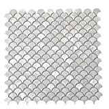 Diflart Oyster Mother of Pearl Fan Shaped Fish Scale Shell Mosaic Tile 10 Sheets/Box (Fan-Shaped, Pearl Shell)