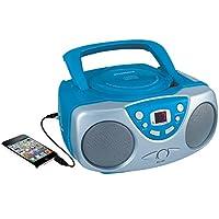 Sylvania SRCD243 Reproductor de CD portátil con radio AM /FM, Boombox (Azul)