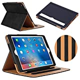 #8: iPad Air 2 Case, AUCEE Ultra Slim Light Weight Sleep Awake Smart Leather Stand Folio Flip Case Cover with Document Card Pocket , Multiple Viewing Angles for Apple iPad Air 2 (iPad 6) - Black