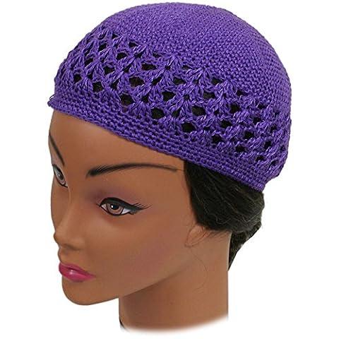 SSK Knit Kufi Hat - Koopy Cap - Crochet Beanie (Purple)