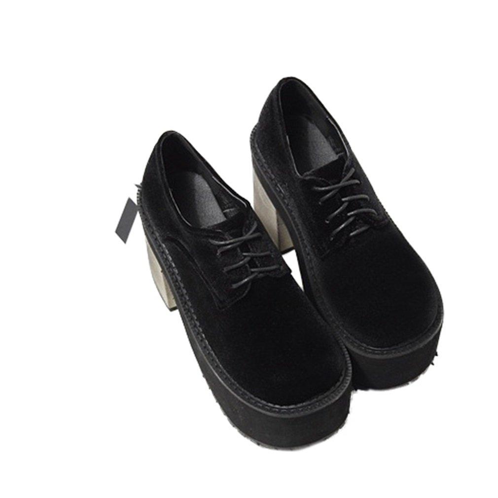 Xianshu Damen Punk Wind Schnürsenkel Grobe Ferse High Heels Plattform Schuhe Pumps