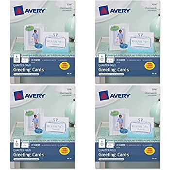 Amazon avery quarter fold greeting cards for inkjet printers avery quarter fold greeting cards for inkjet printers 425 x 55 inches white pack of 20 3266 4 packs m4hsunfo