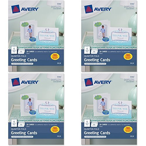 Avery Quarter-Fold Greeting Cards for Inkjet Printers, 4.25 x 5.5 inches, White, Pack of 20 (3266), 4 (Avery Greeting Cards)