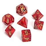 : Chessex Dice: Polyhedral 7-Die Scarab Dice Set - Scarlet with Gold CHX-27414