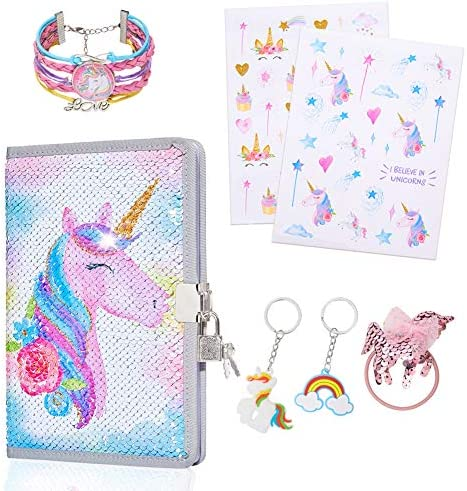 MHJY Unicorn Gifts Notebook for Girls Sequin Unicorn Journal DiaryLock/Unicorn Bracelet/Hair Ties/Keychain/StickersColorful Unicorn