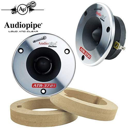 Audiopipe 1-Pair Titanium Super Bullet Tweeters 350W Max 4 Ohm with Custom MDF Tweeter Adapter Rings