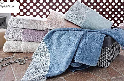 Luxury Lace Towel Set - MinTurk Luxury Turkish Hand Towel - Large Navy Blue Lace Terry - Natural for Home Spa Hotel Sport Gym