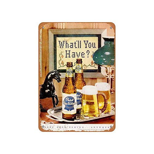Vintage Beer Sign Pabst Blue Ribbon Beer 8X12 Inches for sale  Delivered anywhere in Canada