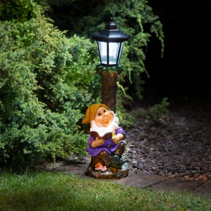 Solar Powered Garden Gnome With Solar Powered Beautiful Lamp Post