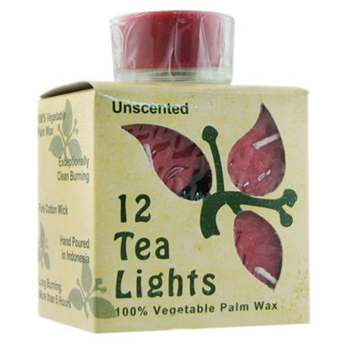 OKSLO Aloha Bay Unscented Tea Light Red Candles With Glass - 0.7 Oz