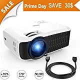 DBPOWER Projector, Upgraded T22 +60 Brightness LCD Video Projector Support 1080P with Free HDMI Cable Compatible with TV Stick Laptop PC iPhone iPad Smartphone for Multimedia Home Cinema Theater-White