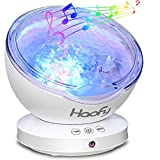 Haofy Wave Night Light, Rotatable Projector with Built-in Mini Music Player 7 Color Night Light Baby Child Mummy Bedroom Living Room Party Appointment (12 LED, White)
