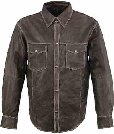 8a58a5917 Milwaukee Leather Men's Grey Lightweight Shirt Big 5X - Mlm1605-Distressed  Gry-5X