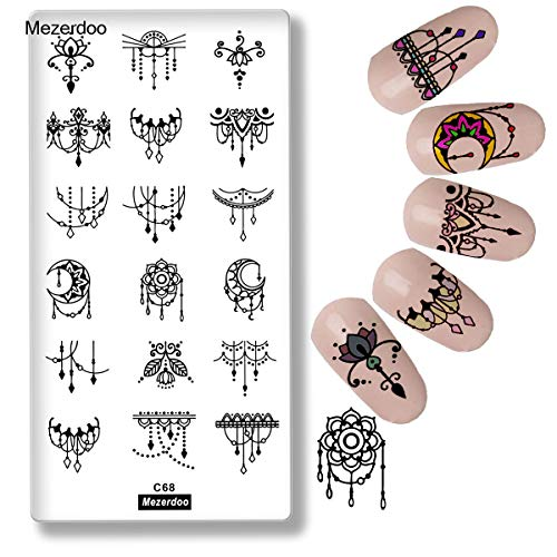 1Pcs Moon Star Lace Flower Flower Plates Rectangle Nail Art Stamp Templates Stamp Image Plate Tassel Pendant Image DIY Manicure Tools