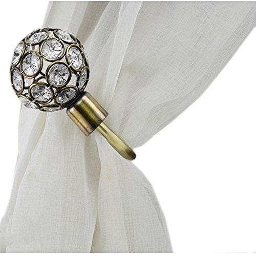 Urn Holdback (YYC 1Pair Glass Hollow Out Urn Drapery Curtain Wall Hooks Holdback (Bronze))