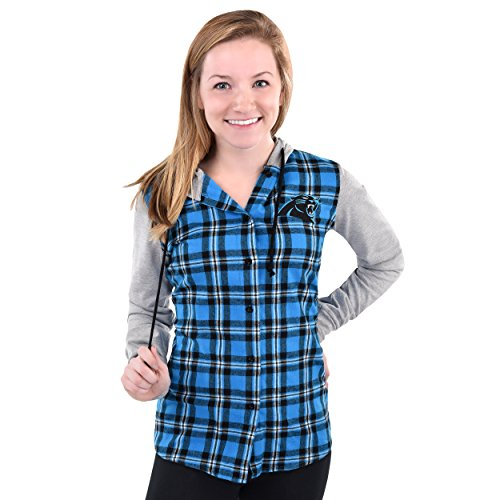 NFL Carolina Panthers Womens NFL Women's Lightweight Flannel Hooded Jacket, X-Large by Forever Collectibles