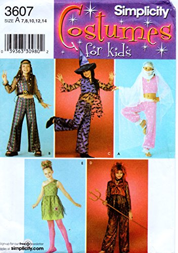 (Simplicity 3607 Girls Costume Sewing Pattern for Size 7-8-10-12-14 Genie, Harem Girl, Devil, Movie Star, Hippie and Star )